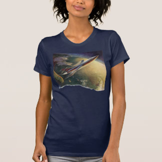 Vintage Science Fiction Spaceship Airplane Earth Tee Shirts