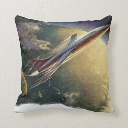 Vintage Science Fiction Spaceship Airplane Earth Throw Pillow