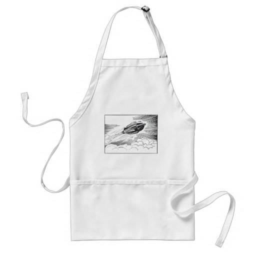 Vintage Science Fiction Spaceship Rocket in Clouds Adult Apron