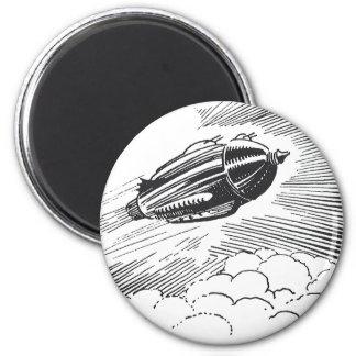 Vintage Science Fiction Spaceship Rocket in Clouds Magnet