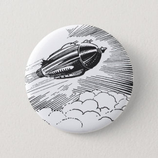 Vintage Science Fiction Spaceship Rocket in Clouds Pinback Button