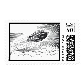 Vintage Science Fiction Spaceship Rocket in Clouds Postage