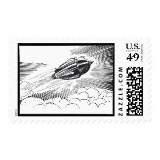 Vintage Science Fiction Spaceship Rocket in Clouds Stamp