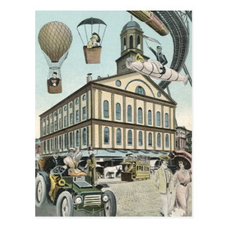 Vintage Science Fiction, Steam Punk Victorian City Postcard