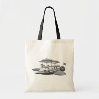 Vintage Science Fiction Steampunk Airship Eclipse Tote Bags
