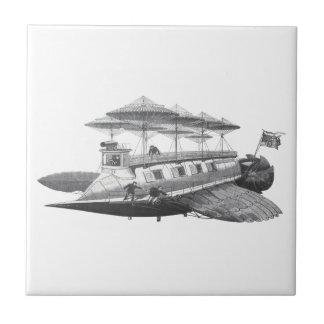 Vintage Science Fiction Steampunk Airship Eclipse Ceramic Tile