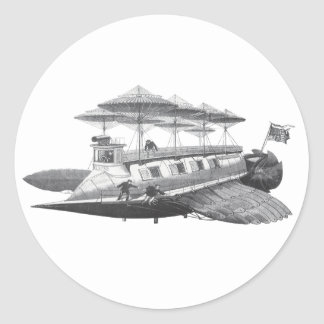 Vintage Science Fiction Steampunk Airship Eclipse Classic Round Sticker