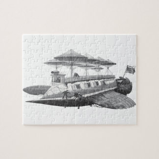Vintage Science Fiction Steampunk Airship Eclipse Jigsaw Puzzle