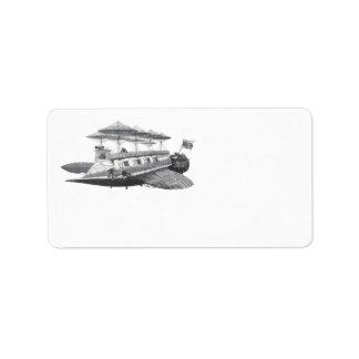 Vintage Science Fiction Steampunk Airship Eclipse Label