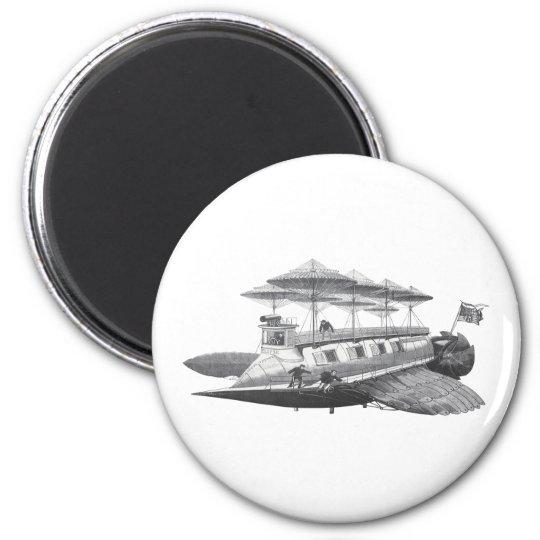 Vintage Science Fiction Steampunk Airship Eclipse Magnet