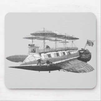 Vintage Science Fiction Steampunk Airship Eclipse Mouse Pad