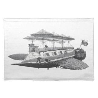 Vintage Science Fiction Steampunk Airship Eclipse Placemat