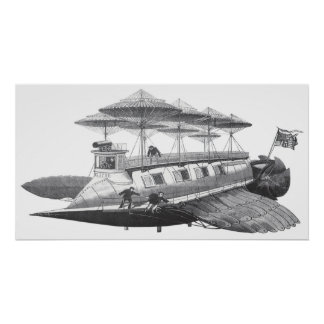 Vintage Science Fiction Steampunk Airship Eclipse Poster
