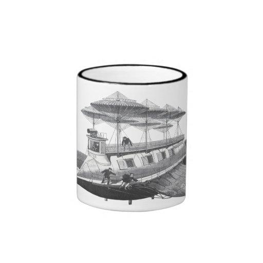 Vintage Science Fiction Steampunk Airship Eclipse Ringer Coffee Mug