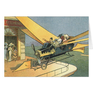 Vintage Science Fiction Steampunk Convertible Car Card