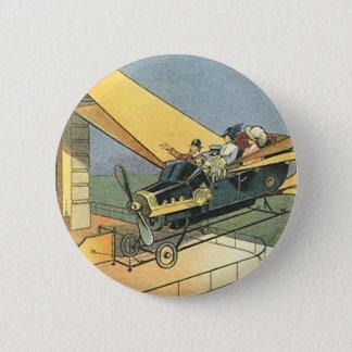 Vintage Science Fiction Steampunk Convertible Car Pinback Button