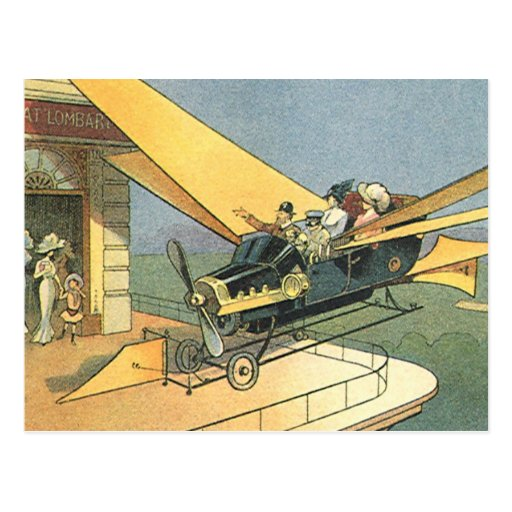 Vintage Science Fiction Steampunk Convertible Car Postcard