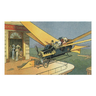 Vintage Science Fiction Steampunk Convertible Car Poster
