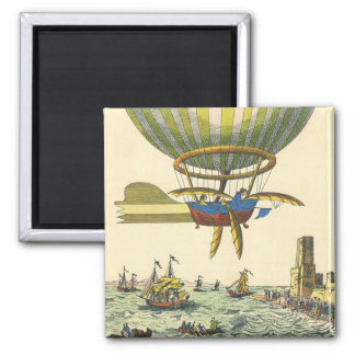 Vintage Science Fiction Steampunk Hot Air Balloon 2 Inch Square Magnet