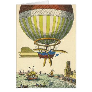 Vintage Science Fiction Steampunk Hot Air Balloon Card