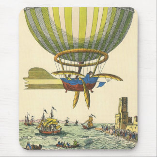 Vintage Science Fiction Steampunk Hot Air Balloon Mouse Pad