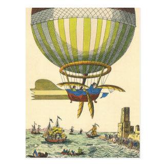 Vintage Science Fiction Steampunk Hot Air Balloon Postcard