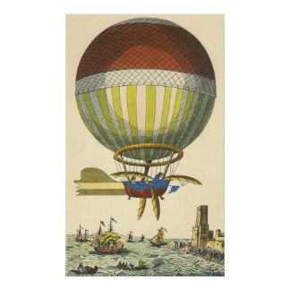 Vintage Science Fiction Steampunk Hot Air Balloon Poster