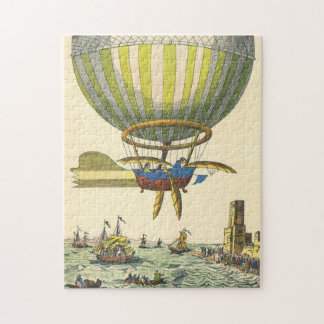Vintage Science Fiction Steampunk Hot Air Balloon Jigsaw Puzzle