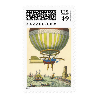 Vintage Science Fiction Steampunk Hot Air Balloon Stamp