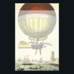 "Vintage Science Fiction Steampunk Hot Air Balloon Stationery<br><div class=""desc"">Vintage illustration Victorian Science Fiction futuristic travel and transportation steam punk image. A hot air balloon (a dirigible) with wings flying over the ocean with ships. A castle is on land and a crowd of people are on the shore by the sea. A classic retro comic book sci fi design...</div>"