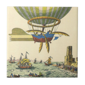 Vintage Science Fiction Steampunk Hot Air Balloon Small Square Tile