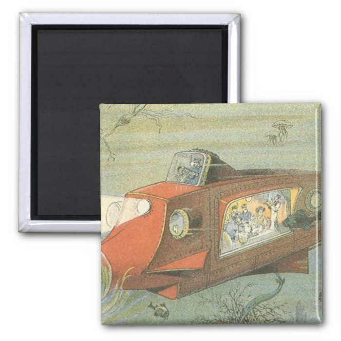 Vintage Science Fiction Steampunk Submarine in Sea 2 Inch Square Magnet