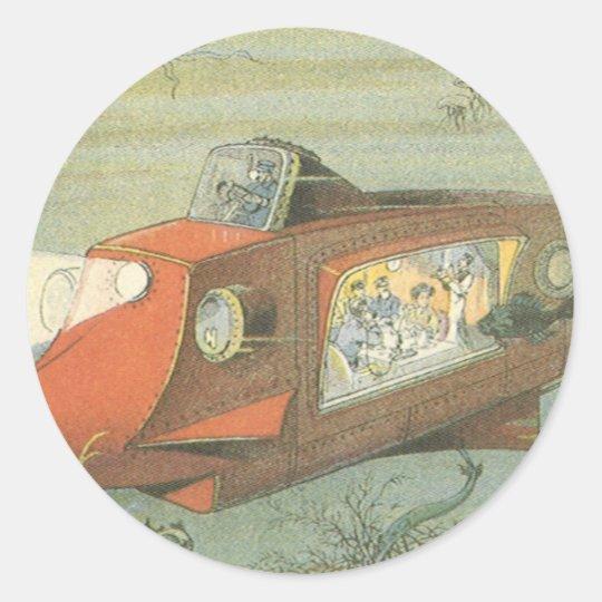 Vintage Science Fiction Steampunk Submarine in Sea Classic Round Sticker