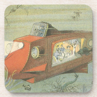 Vintage Science Fiction Steampunk Submarine in Sea Drink Coaster