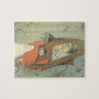 Vintage Science Fiction Steampunk Submarine in Sea Jigsaw Puzzle