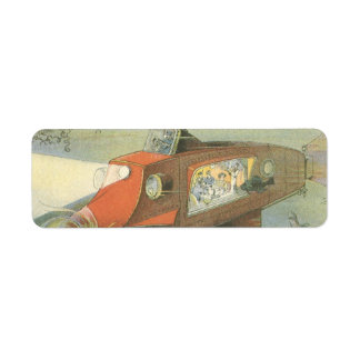 Vintage Science Fiction Steampunk Submarine in Sea Label