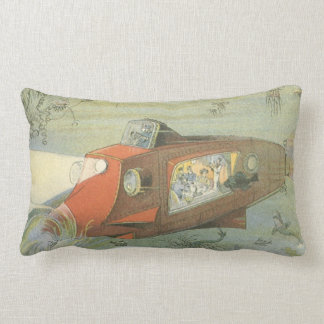 Vintage Science Fiction Steampunk Submarine in Sea Lumbar Pillow