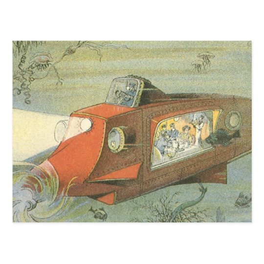 Vintage Science Fiction Steampunk Submarine in Sea Postcard
