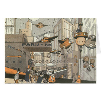Vintage Science Fiction Steampunk Urban Paris Greeting Card