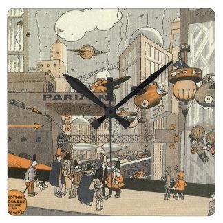 Vintage Science Fiction Steampunk Urban Paris Square Wall Clocks
