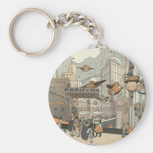Vintage Science Fiction Steampunk Urban Paris Key Chain