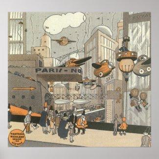 Vintage Science Fiction Steampunk Urban Paris Poster