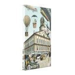 Vintage Science Fiction, Steampunk Victorian City Stretched Canvas Print