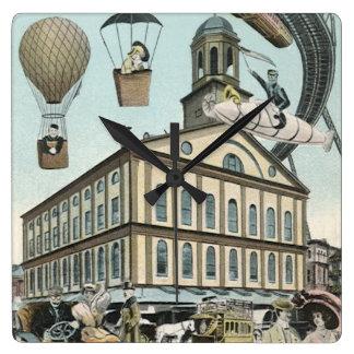 Vintage Science Fiction, Steampunk Victorian City Square Wallclocks