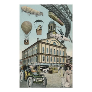 Vintage Science Fiction, Steampunk Victorian City Posters
