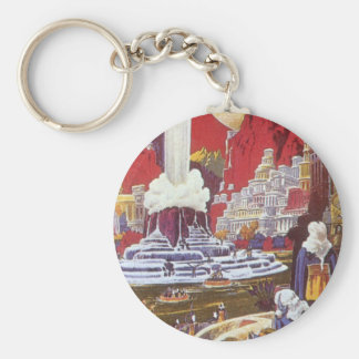 Vintage Science Fiction, the Lost City of Atlantis Basic Round Button Keychain