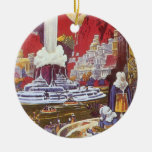Vintage Science Fiction, the Lost City of Atlantis Double-Sided Ceramic Round Christmas Ornament