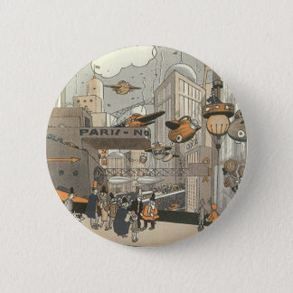 Vintage Science Fiction Urban Paris, Steam Punk Button