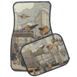 Vintage Science Fiction Urban Paris, Steam Punk Car Floor Mat