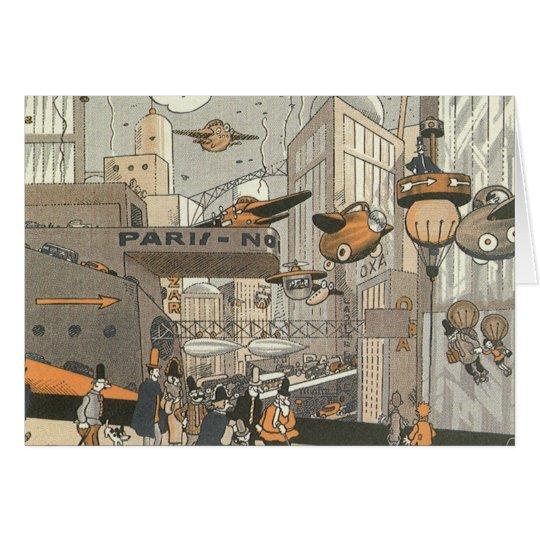 Vintage Science Fiction Urban Paris, Steam Punk Card